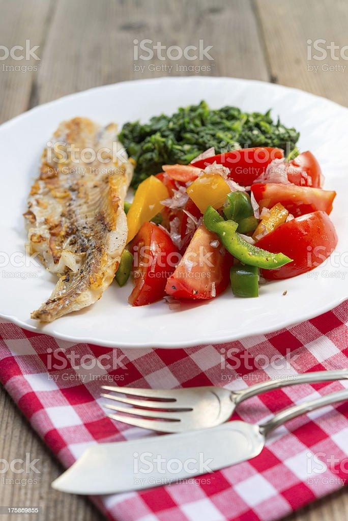 salmon sheet spinach tomato royalty-free stock photo