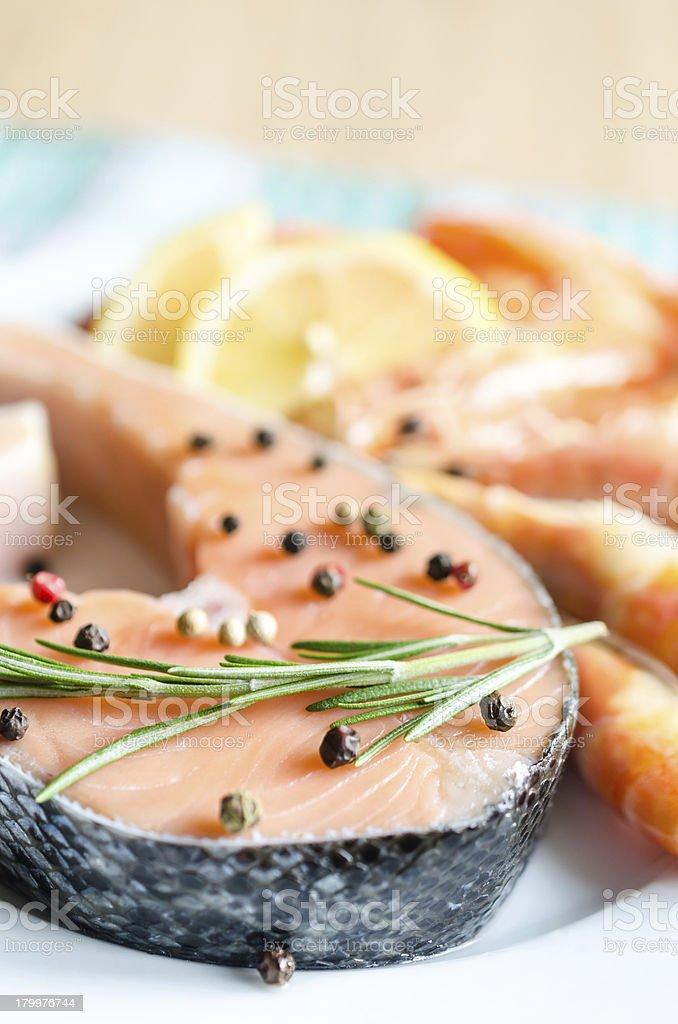 Salmon & shrimps royalty-free stock photo