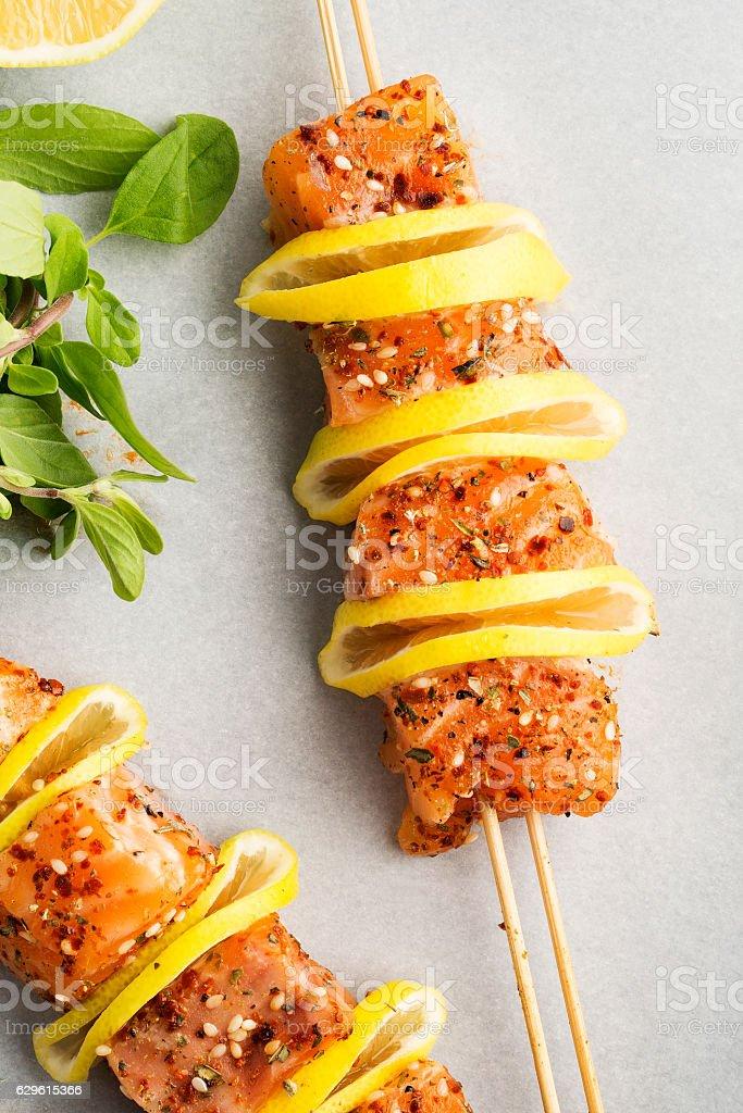 Salmon skewers,food stock photo