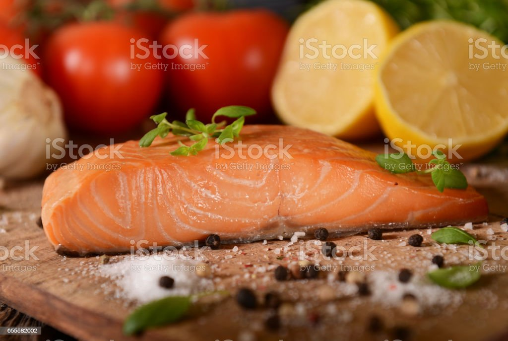 Salmon slice stock photo