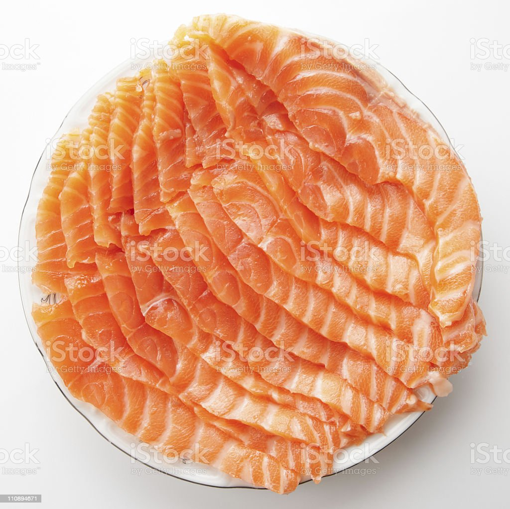 Salmon slices on plate stock photo