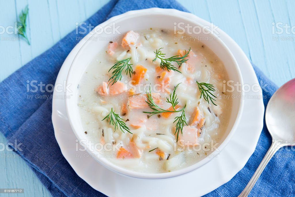 Salmon soup with noodles stock photo