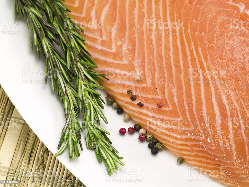 Salmon Steak and Spices royalty-free stock photo