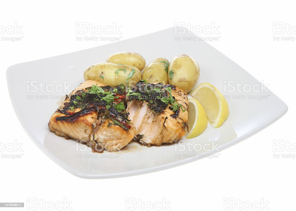 Salmon Steak Dinner royalty-free stock photo