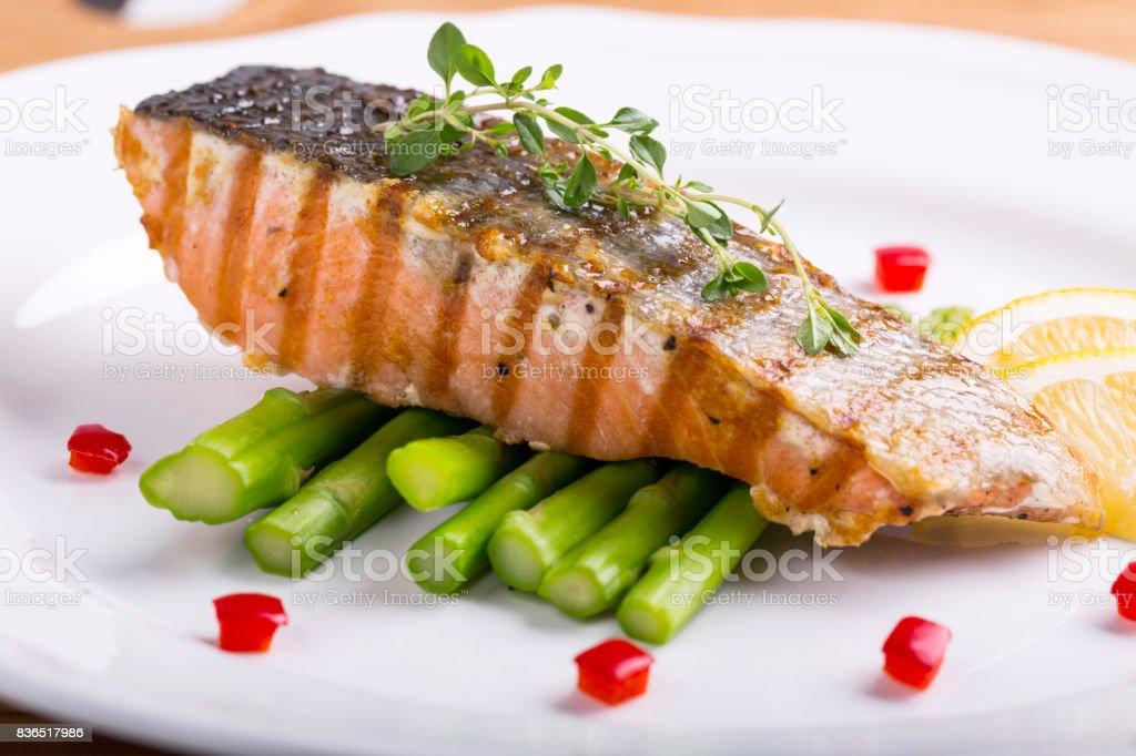 Salmon steak food prepare for serve stock photo