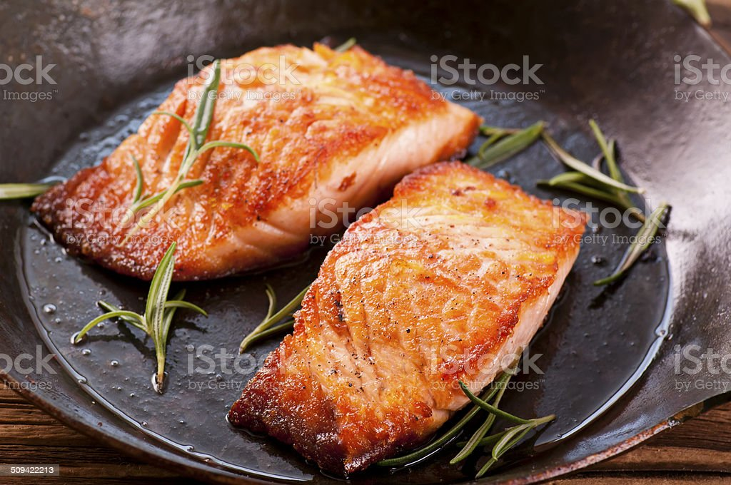 Salmon Steak in Fryer stock photo