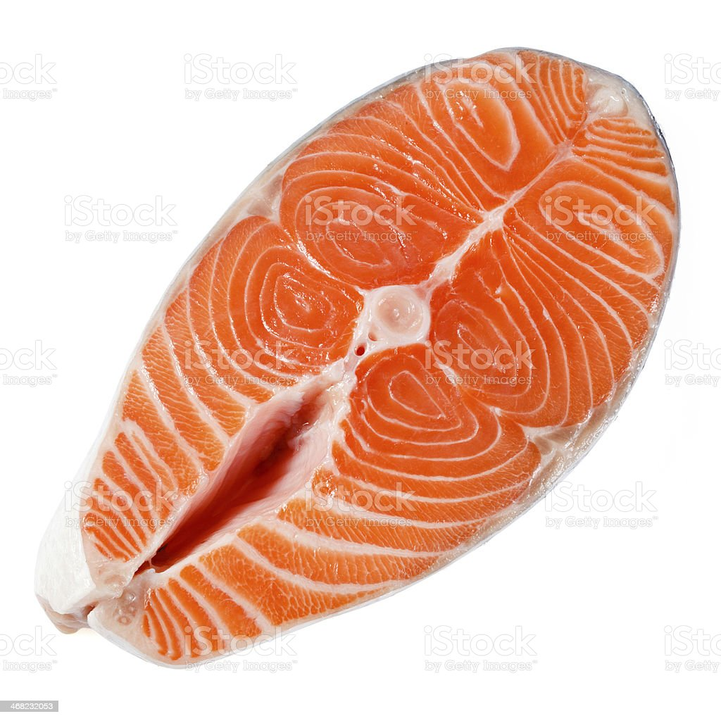 Salmon steak on a white background. With clipping path stock photo
