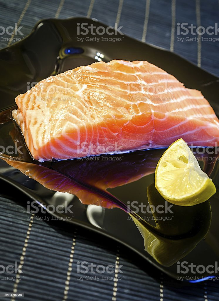 Salmon steak stock photo