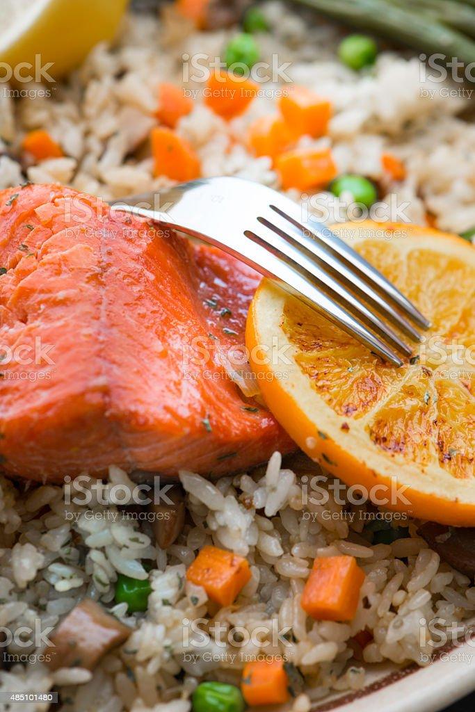 Salmon Steak with Fries Rice stock photo