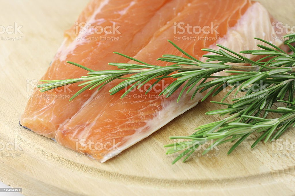 Salmon steak with rosemary royalty-free stock photo