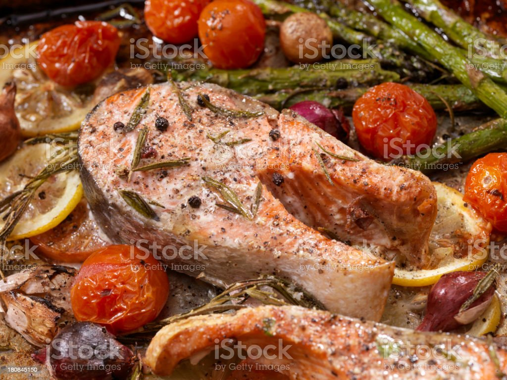 Salmon Steaks in a Roasting Pan stock photo