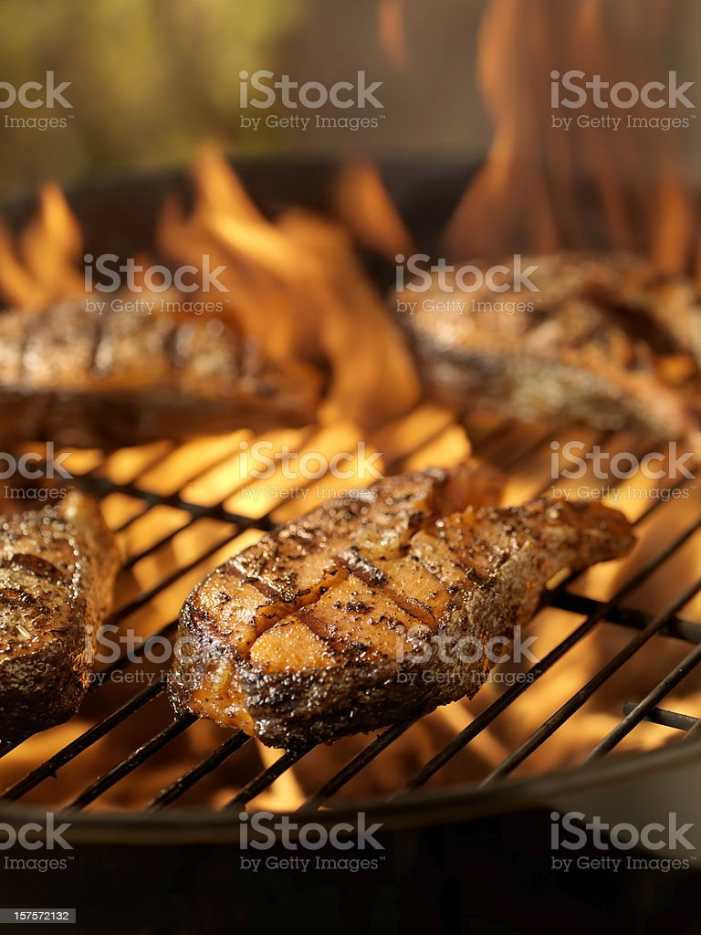 Salmon Steaks on an outdoor BBQ royalty-free stock photo