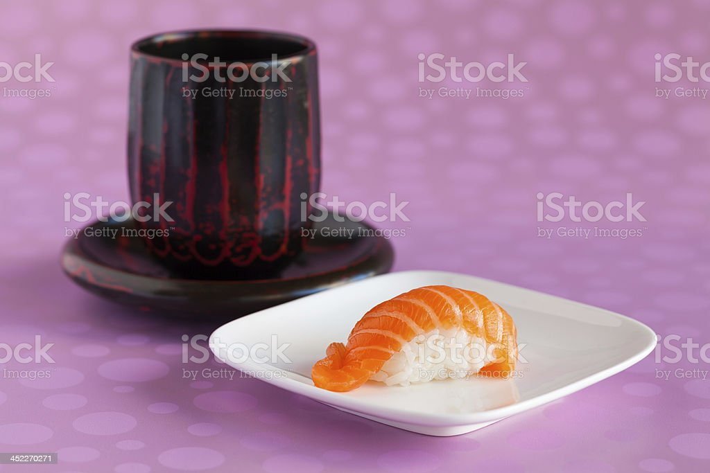 Salmon Sushi and Japanese Teacup royalty-free stock photo