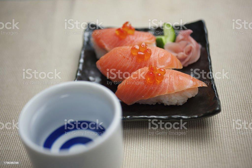 Salmon Sushi and sake royalty-free stock photo