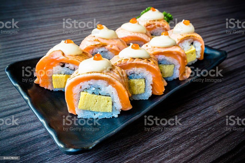 Salmon sushi, Japanese food delicious menu, vignette effect stock photo