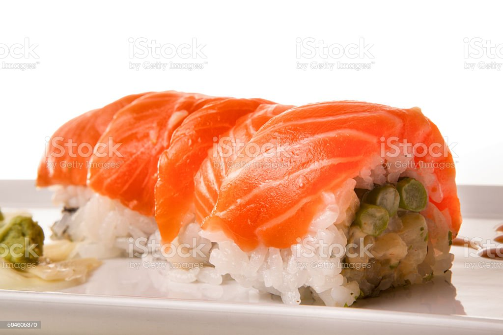 Salmon Sushi Roll Neatly Sliced stock photo