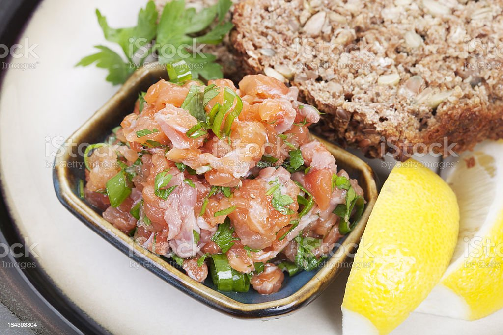 Salmon tartare stock photo