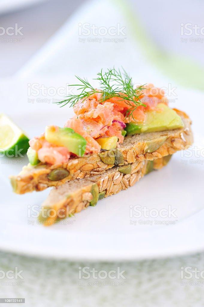 Salmon Tartare Snack royalty-free stock photo