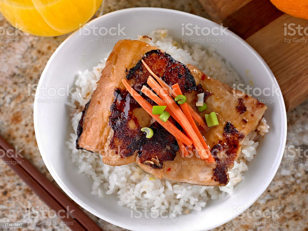 Salmon Teriyaki over Steamed White Rice. royalty-free stock photo