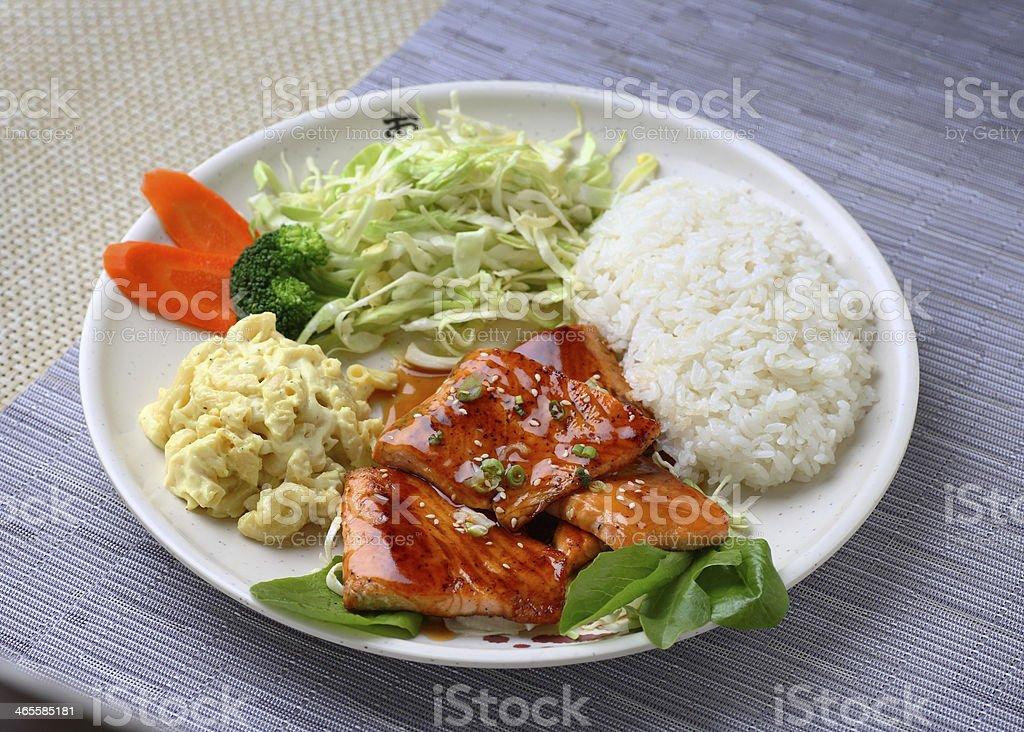Salmon Teriyaki & Rice royalty-free stock photo