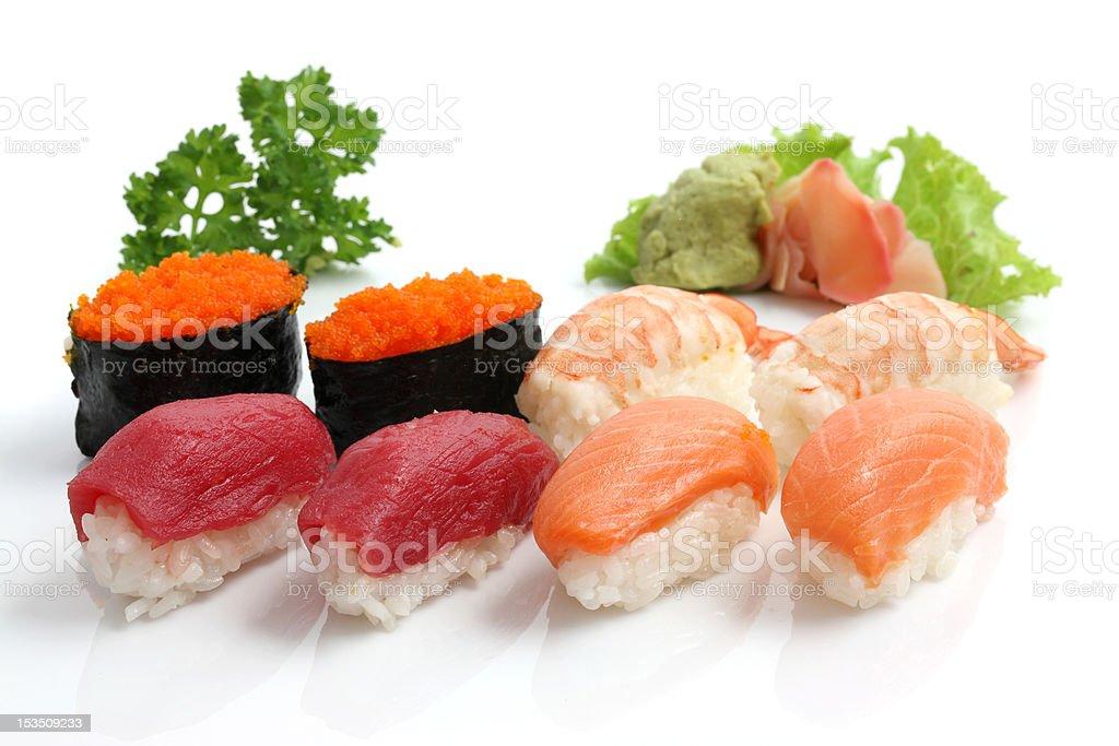 Salmon Tuna Shrimp Sushi and maki isolated in white background royalty-free stock photo