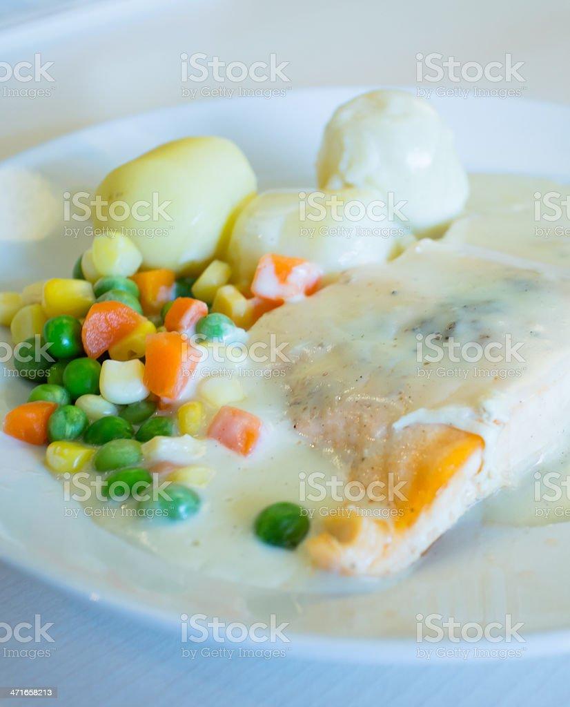 Salmon white sauce. royalty-free stock photo
