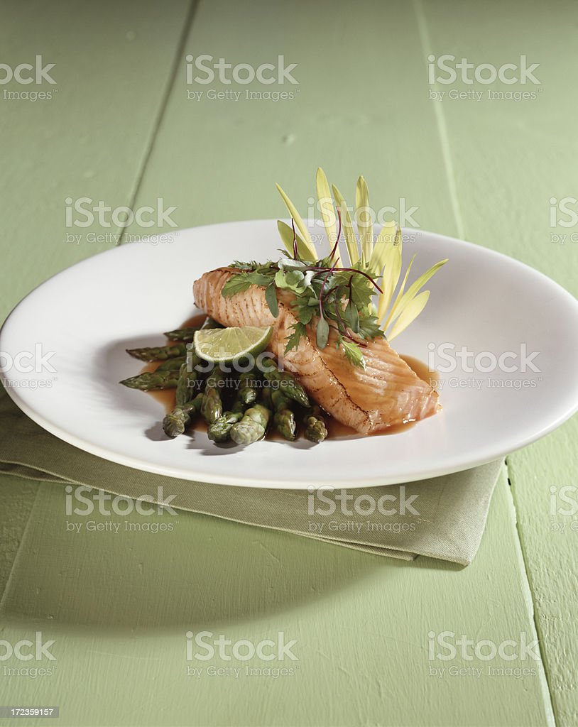 Salmon with Asparagus royalty-free stock photo