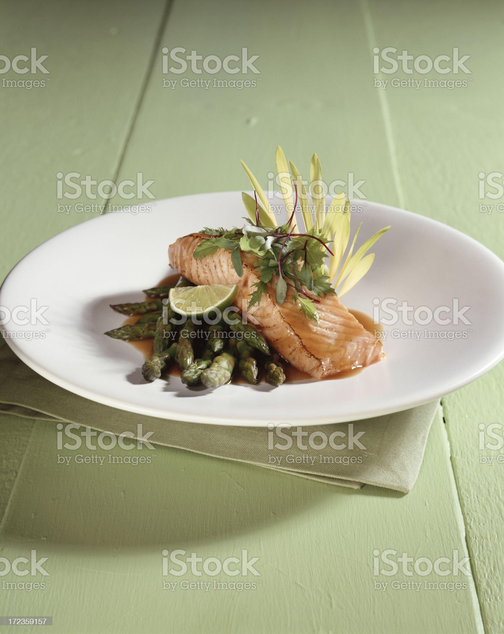 Salmon with Asparagus royalty-free stock photo