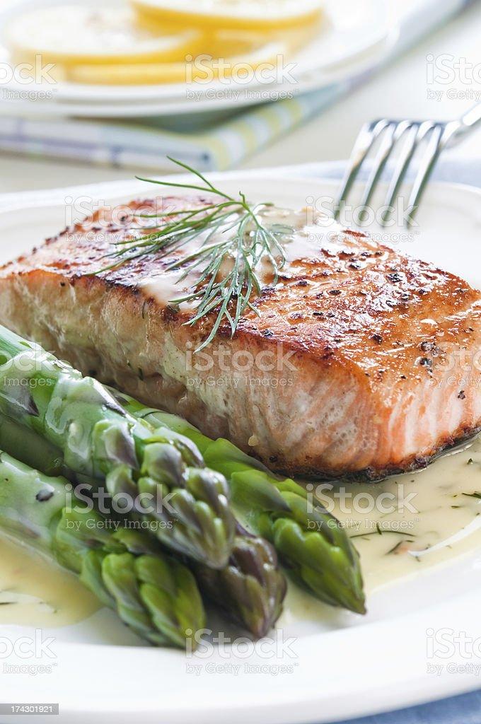 Salmon with Asparagus stock photo