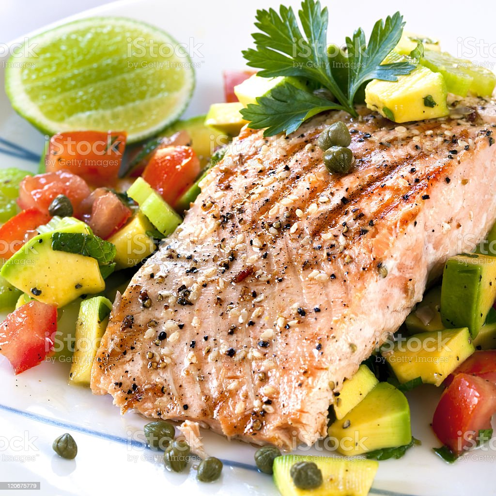 Salmon with Avocado Salsa stock photo