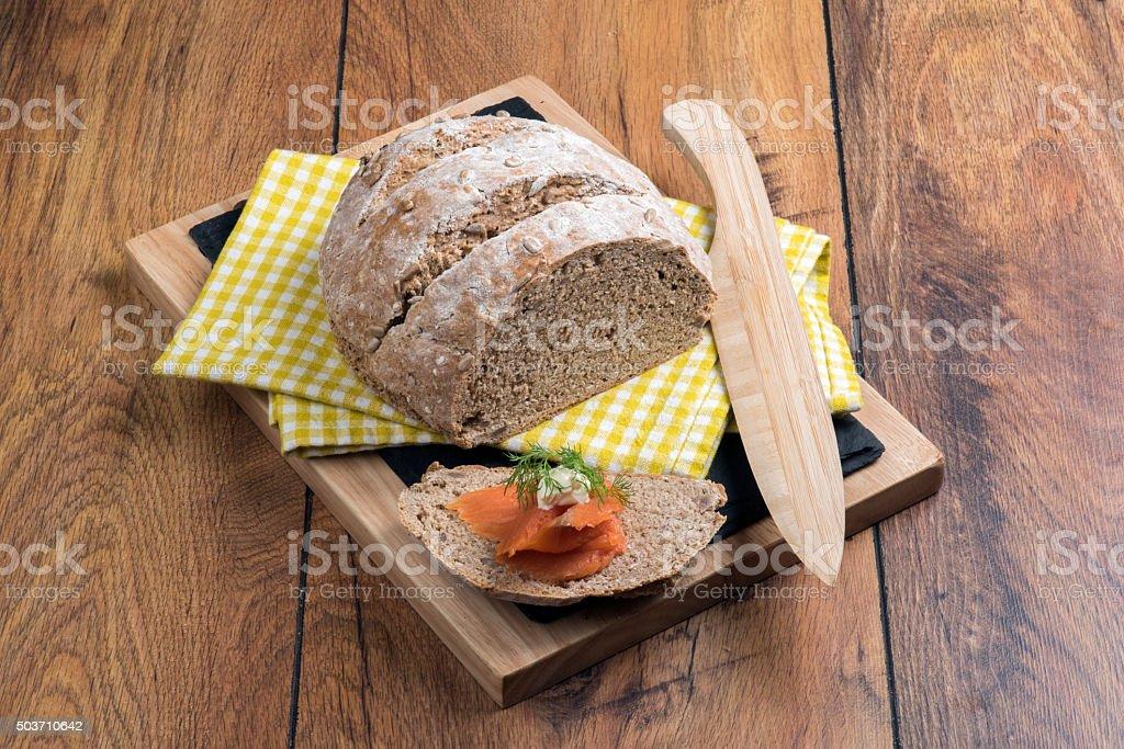 Salmon with Bread stock photo