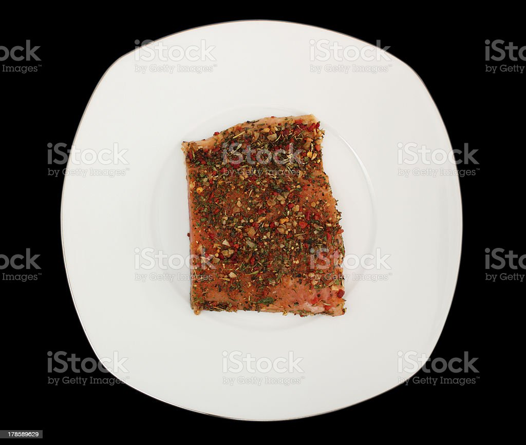 Salmon with condiment royalty-free stock photo
