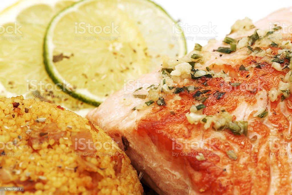 Salmon with couscous royalty-free stock photo