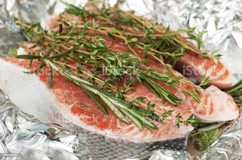 salmon with herbs royalty-free stock photo