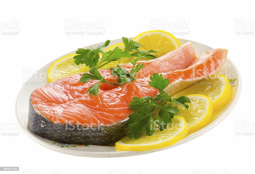 salmon with lemon royalty-free stock photo