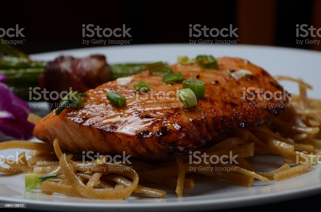 Salmon with Noodles stock photo