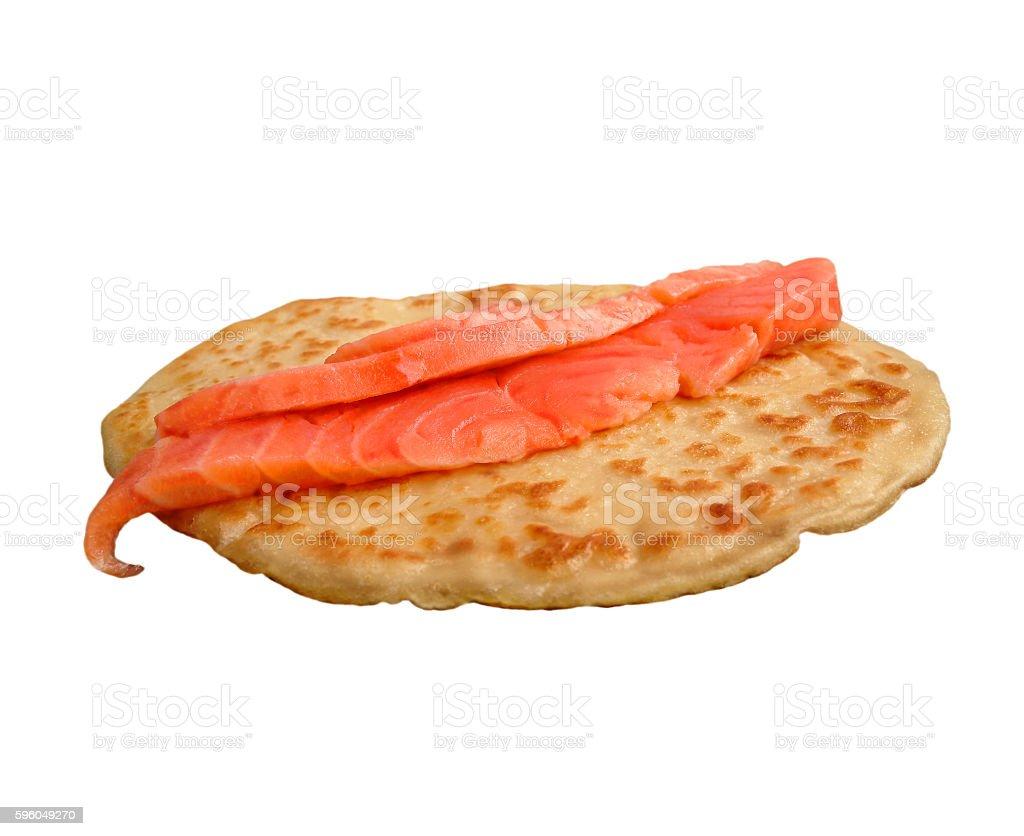Salmon with pancake stock photo