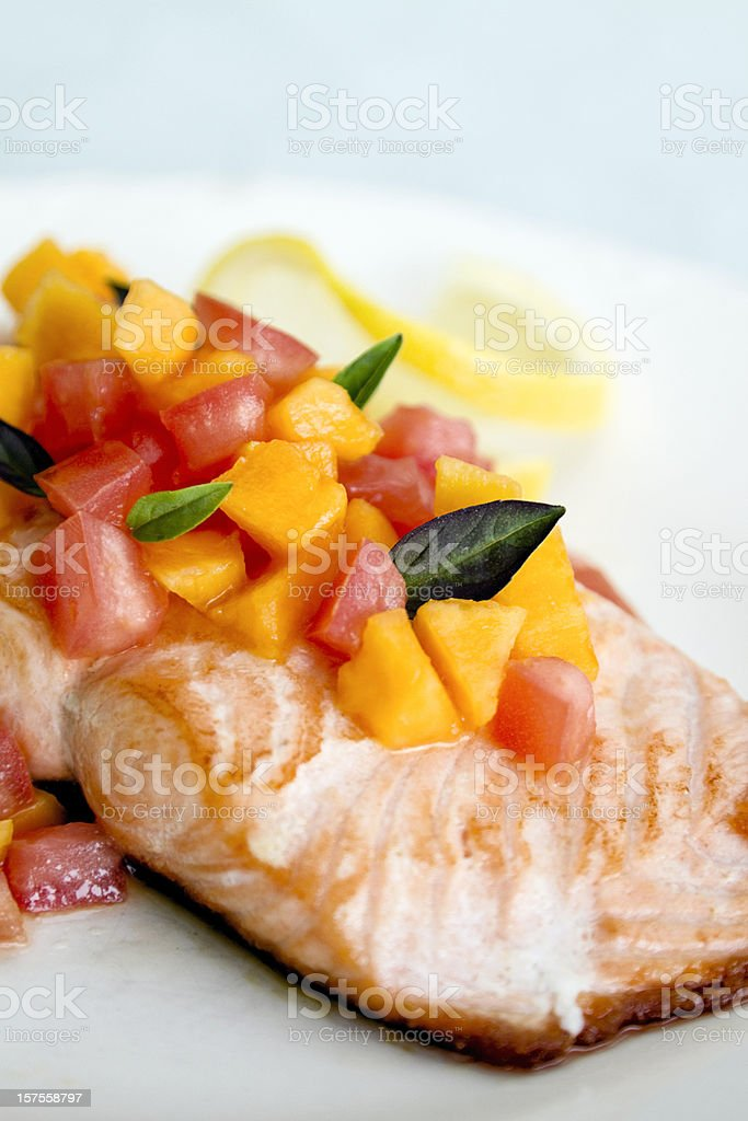 Salmon with Papaya Chutney royalty-free stock photo