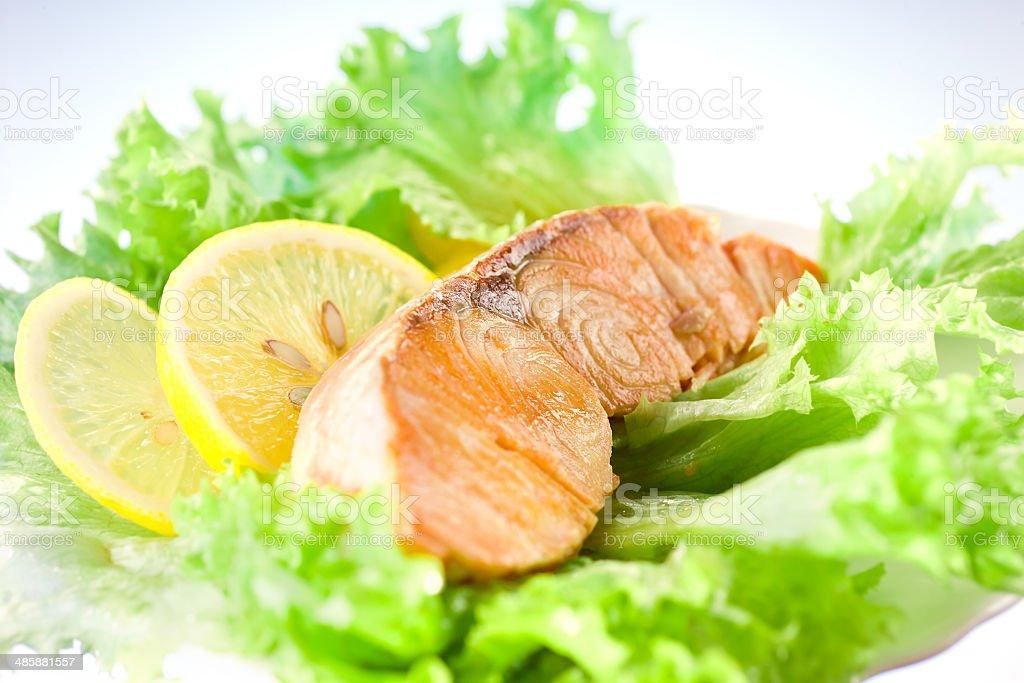 Salmon with salad and lemon royalty-free stock photo