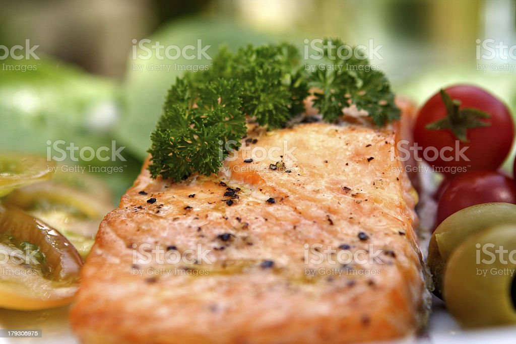 Salmon with salad royalty-free stock photo