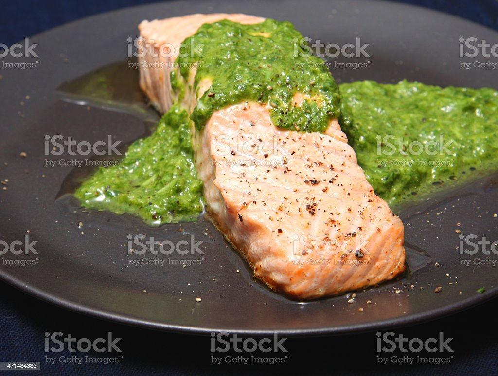 Salmon with salsa verde stock photo