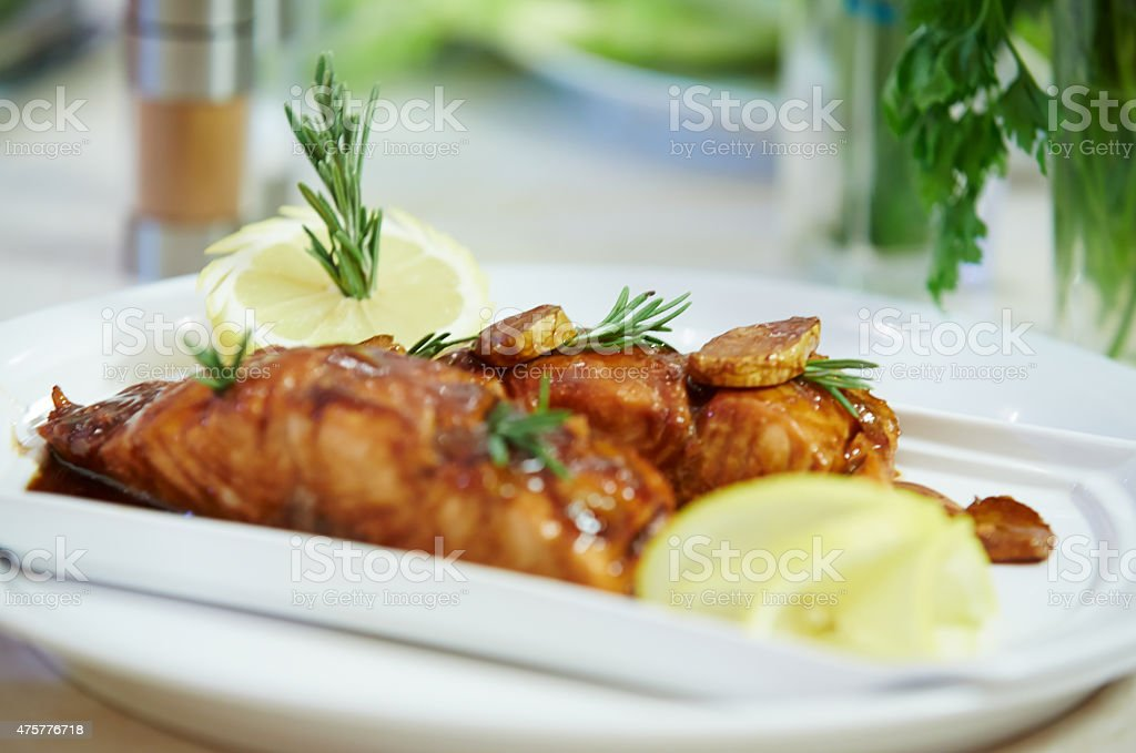 salmon with teriyaki sauce stock photo