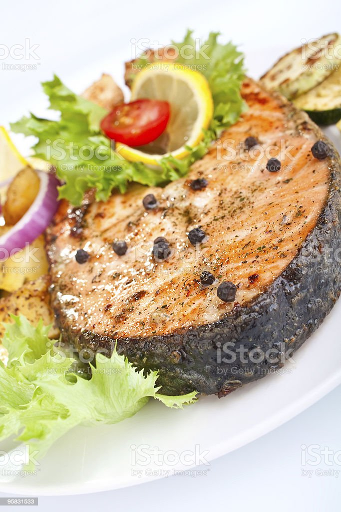 salmon with vegetables and lemon royalty-free stock photo