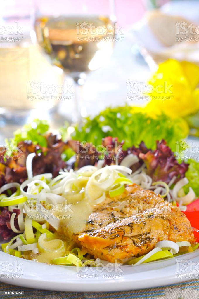 Salmon with vegetables royalty-free stock photo