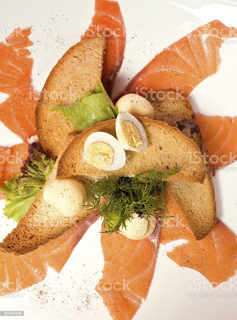salmon,toasts and egg stock photo