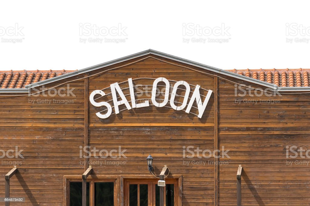 Saloon bar top isolated on white. stock photo