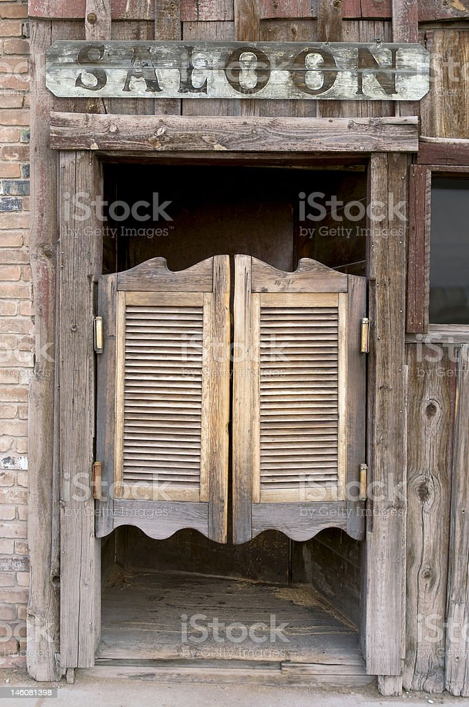 Saloon Doors with Sign stock photo