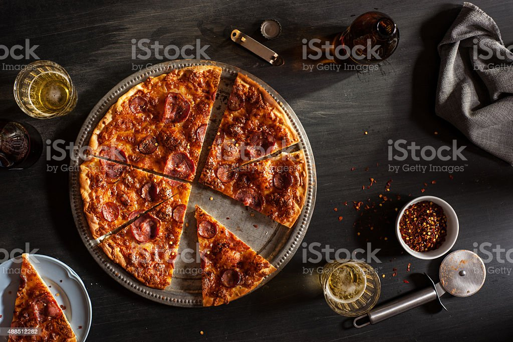 Salpicao and Chourico Pizza stock photo