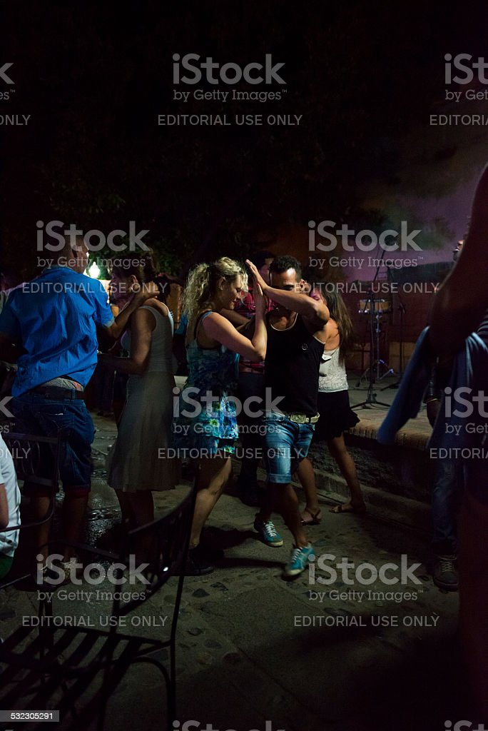 Salsa dancing in Trinidad, Cuba stock photo