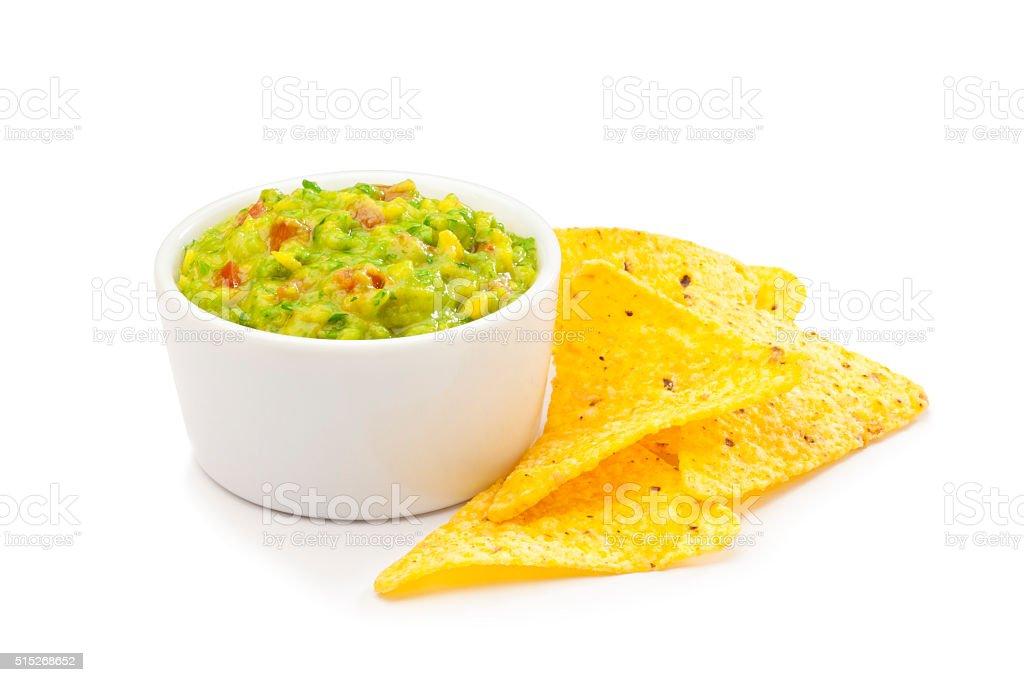 Salsa guacamole with nachos. stock photo